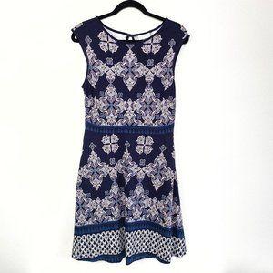 New York & Company Cotton Geo Pattern Midi Dress M